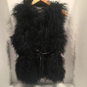 Ugg Abbey Black Mongolian Shearling Vest